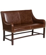 Manchester Leather Settee  Antique Brown Leather  Wood - $1,139.00