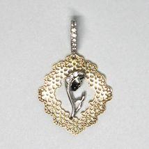 Pendentif Médaille, or Jaune Blanc 750 18k, Vierge Marie, avec Cadre, Fleurs image 3
