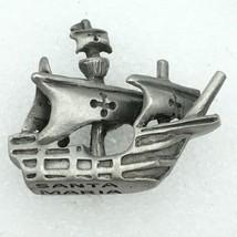 SANTA MARIA pewter tie tack or lapel pin - Columbus sailing ship carrack... - $9.80