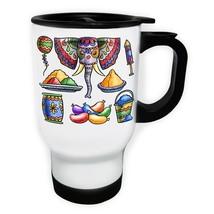 Pack of holi festival elements White/Steel Travel 14oz Mug v888t - $17.79