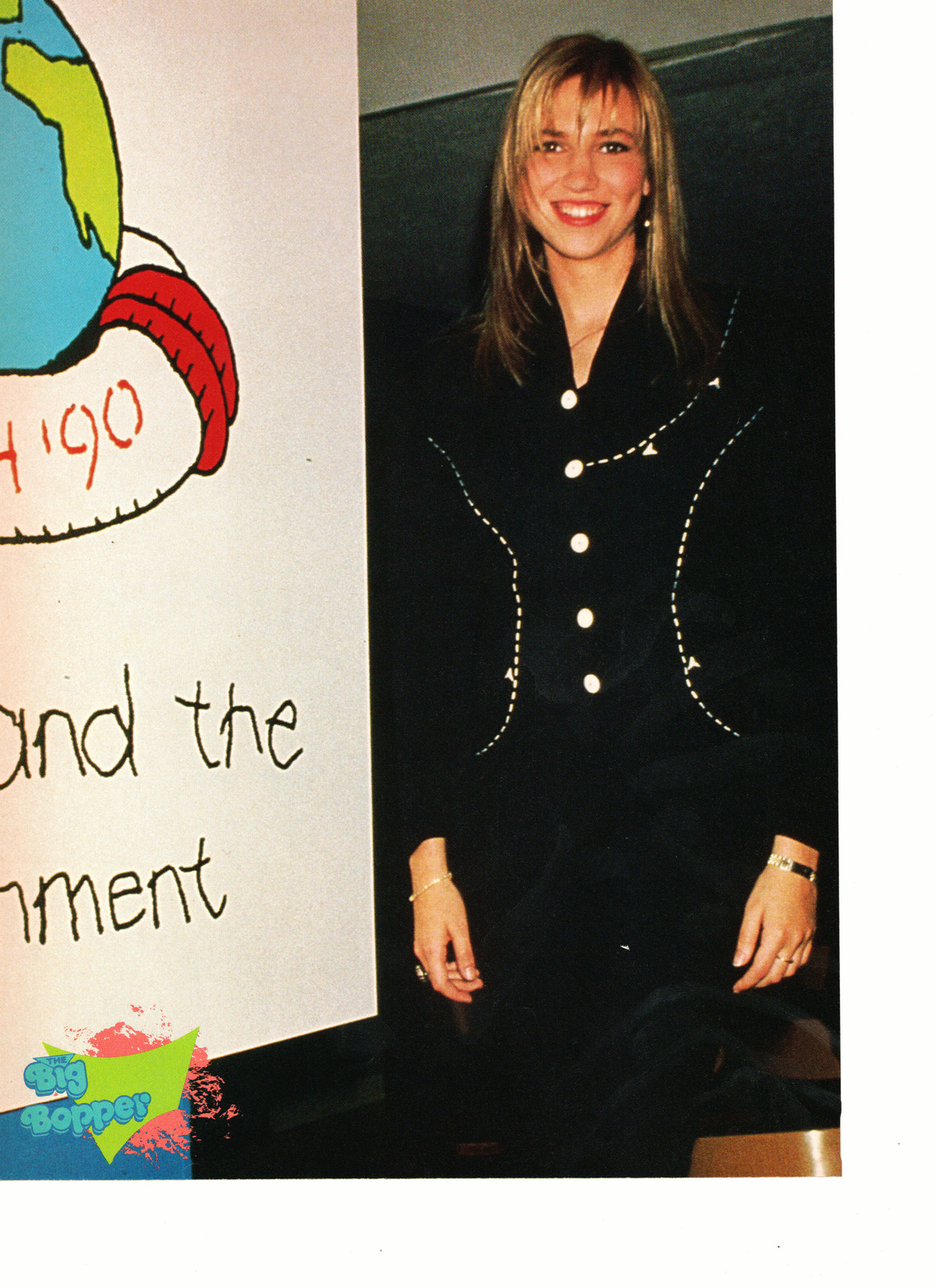 Debbie Gibson teen magazine pinup clipping standing by a sign black suit Bop - $3.50