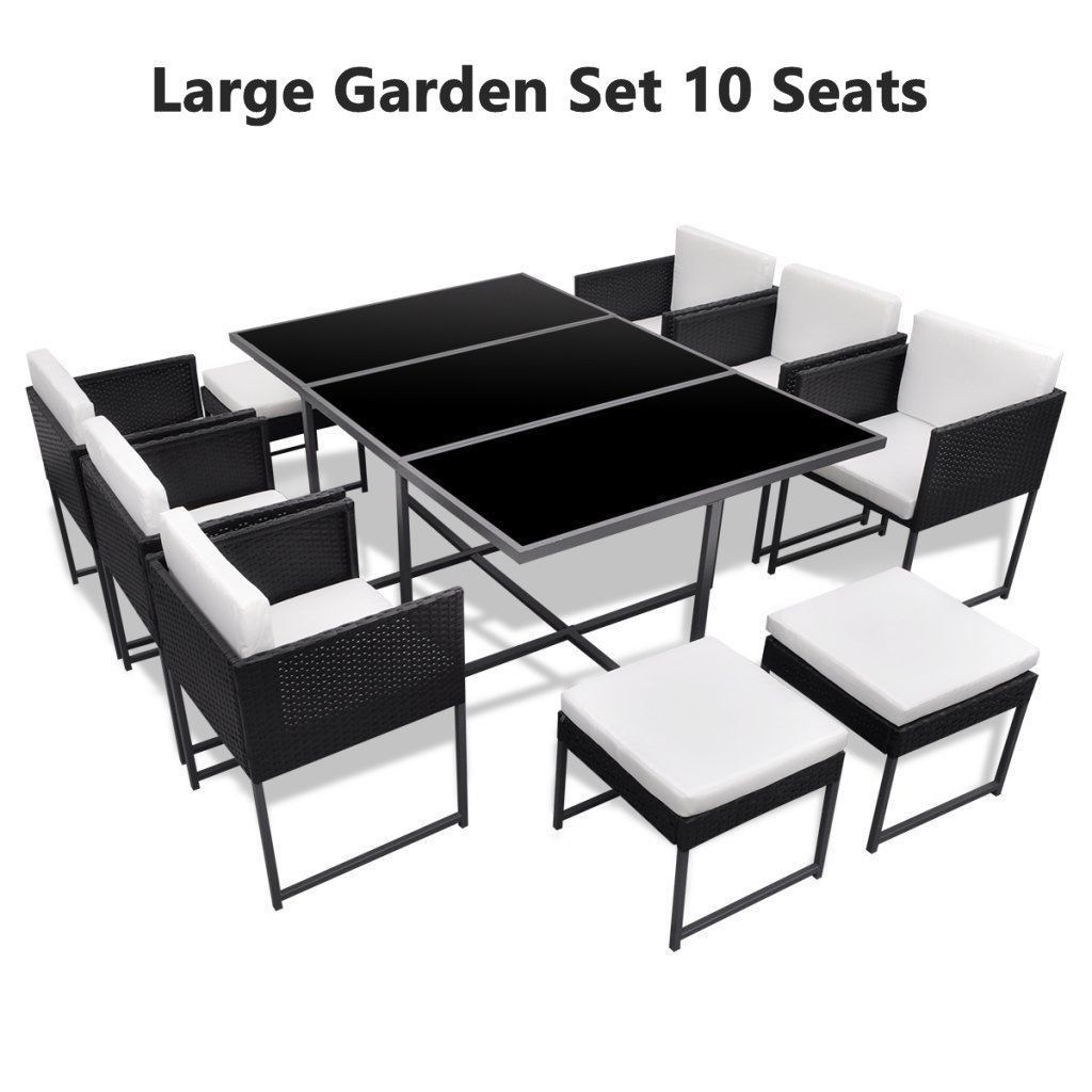 Large Garden Dine Set 6 Chairs 4 Stools Glass Top Table Patio Polyrattan Black