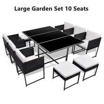 Large Garden Dine Set 6 Chairs 4 Stools Glass Top Table Patio Polyrattan Black image 1