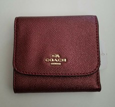 Coach Small Wallet Cherry Metallic Cross Grain Leather Tri-fold F21069 N... - $62.36