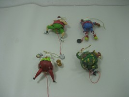 Set of Four (4) Vintage Resin Movable Santa Clause Ornaments Pull String... - $28.01