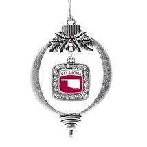 Inspired Silver Oklahoma Outline Classic Holiday Christmas Tree Ornament With Cr - $14.69