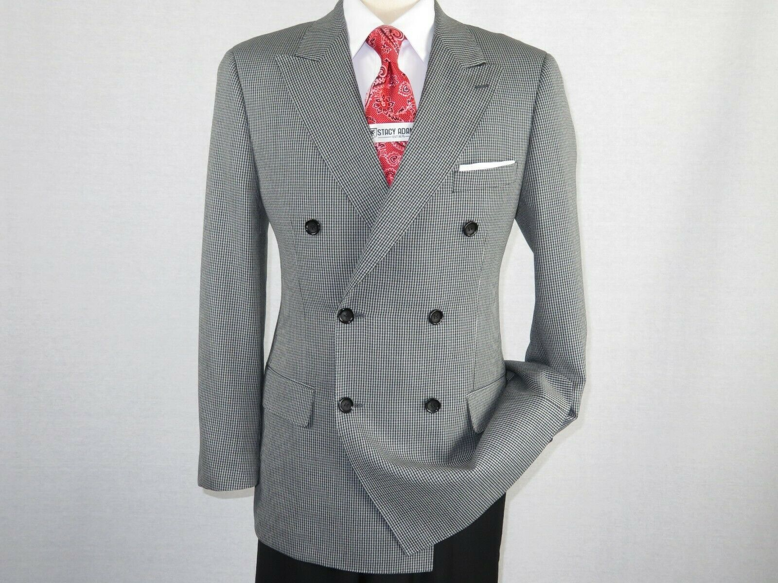 Primary image for Mens sport Coat ROYAL DIAMOND Houndstooth Wool Double Breasted black Gray A129