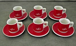 Set Of 6 Vintage Retro Cafe Senza Red & White Espresso Cups And Saucers ... - £29.91 GBP