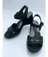 Ariat Sandy 8 Black Gray Leather Wedge Heels Ankle Buckle Womens - $24.99