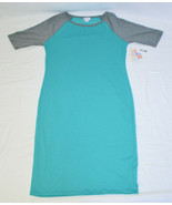 Teal Gray LULAROE JULIA Raglan Baseball T-Shirt Dress Medium New With Tags - $23.76