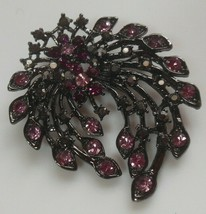 Vintage Signed KC Floral Brooch Black Metal W/Purple & Pink Rhinestones - $35.00