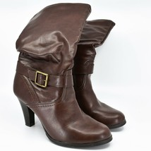 Arizona Jeans Absolute Chocolate Brown Round Toe Heeled Zipper Boots Size 8.5