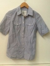 American Eagle Outfitters size 2 blue white Striped button up shirt top ... - $15.95