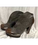 BCBG MAXAZRIA SHOES  Leather brown gray close booties heel close Pumps: ... - $32.71