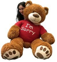 5 Foot Giant Teddy Bear 60 Inch Soft Cinnamon Brown Color Wears I'M SORR... - $127.11