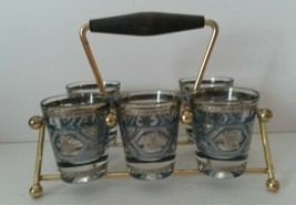 Culver LTD Mid Century Modern Blue & Silver Shot (5) Glasses With Carrie... - $79.19