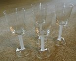 WINE GLASSES Set of 4 Clear with Frosted Stems 5 oz. excellent unused condition