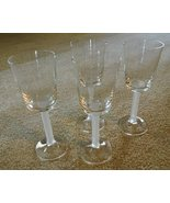 Wine Glasses Set of 4 Clear with Frosted Stems 5 oz. excellent unused co... - $30.00