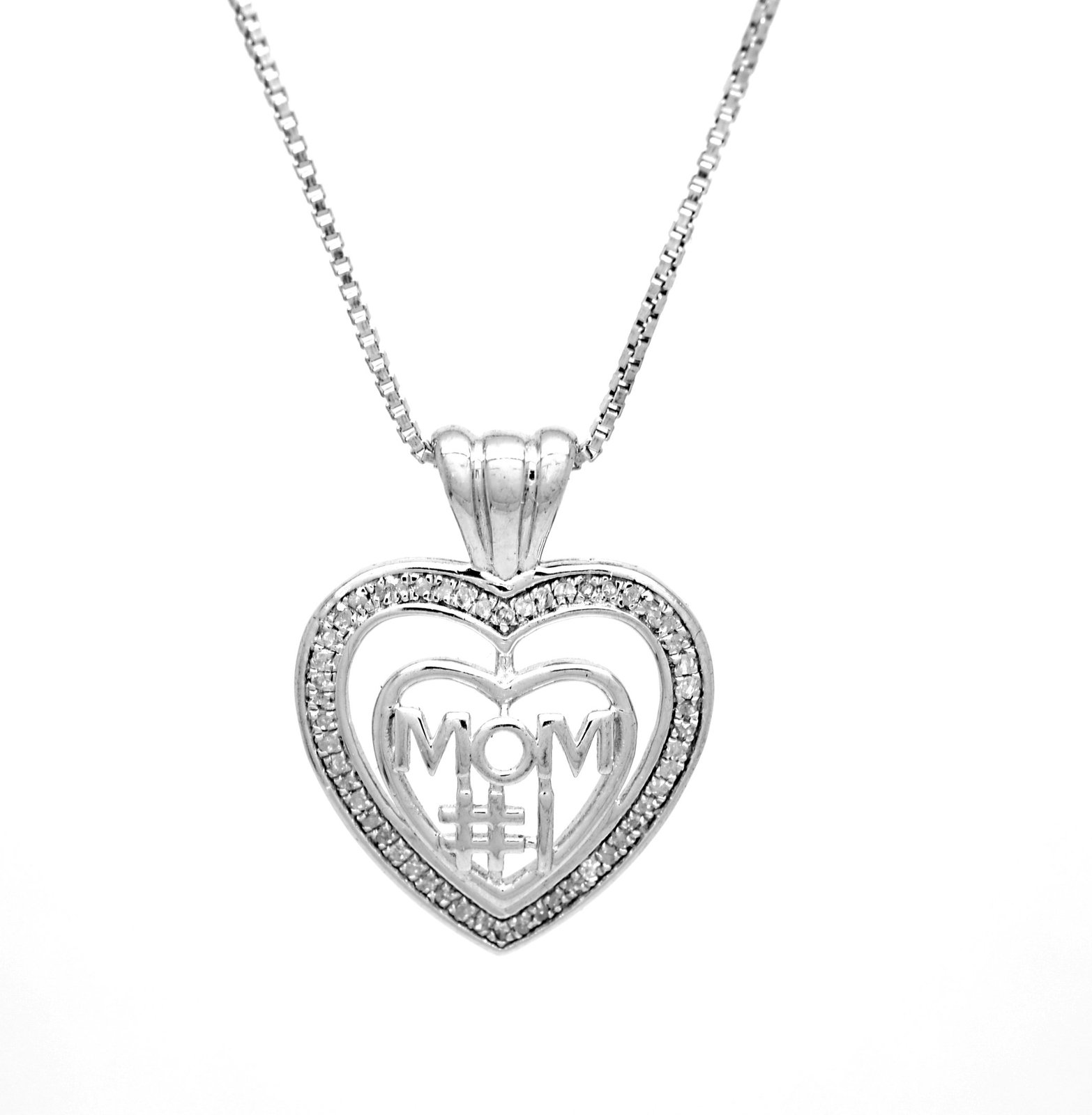 925 Sterling Silver 1 Mom 0.05 Ct Diamond Accent Heart Pendant with Silver Box C