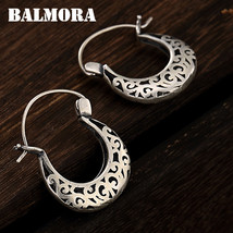 BALMORA 100% Real 990 Pure Silver Hollow Retro Creative Clip Earrings fo... - $64.01+