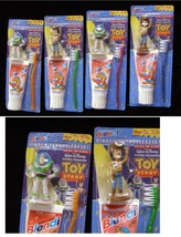 Toy Story Toothbrush Figures Colgate German New 1990s 2 Pairs - $28.99
