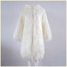 White Hooded Fluffy long Hair Angora Goat Faux Fur Long Trench Coat Jacket