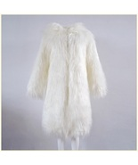 White Hooded Fluffy long Hair Angora Goat Faux Fur Long Trench Coat Jacket - $139.95