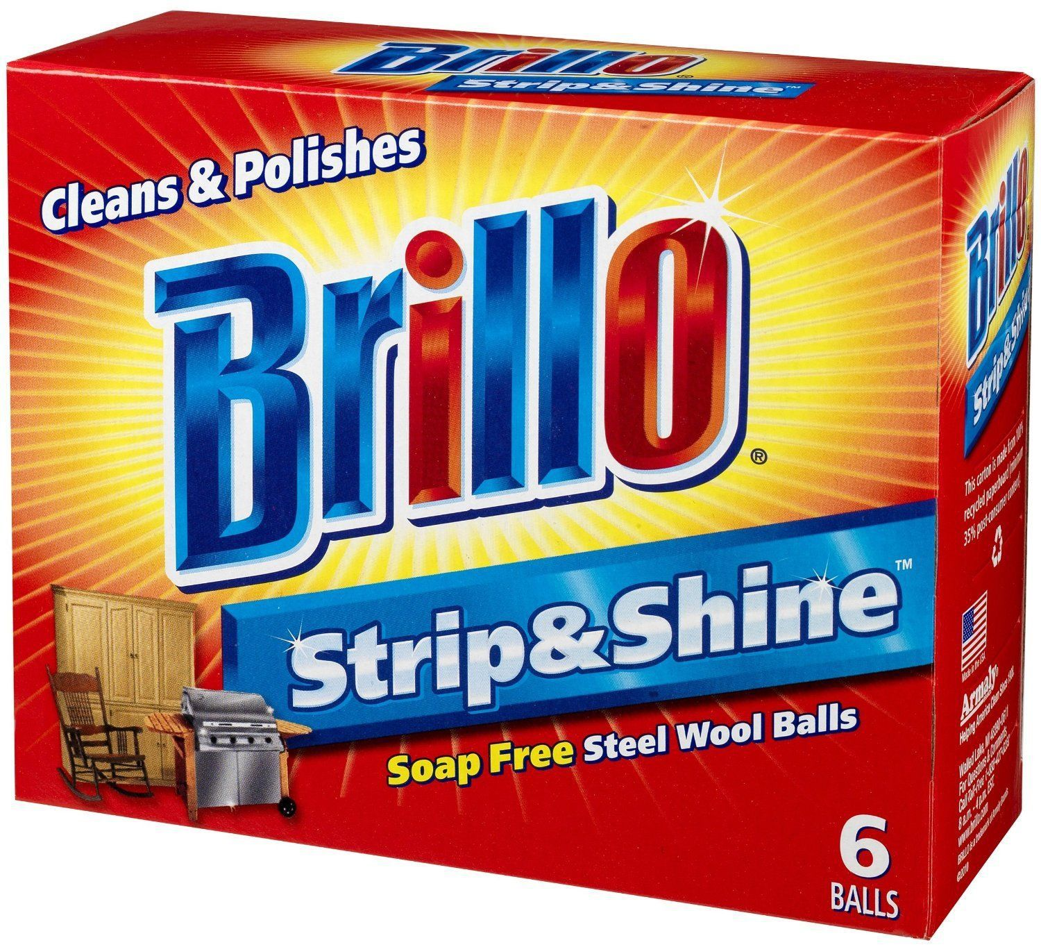 Primary image for New Brillo Strip and Shine Steel Wool Balls Soap Free, 6 steel wool balls In Box