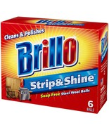 New Brillo Strip and Shine Steel Wool Balls Soap Free, 6 steel wool ball... - $5.94