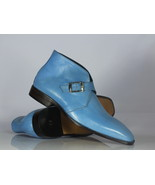 Elegant Handmade Men's Blue Buckle Ankle Boots,Men Leather Chukka Design... - $149.99+