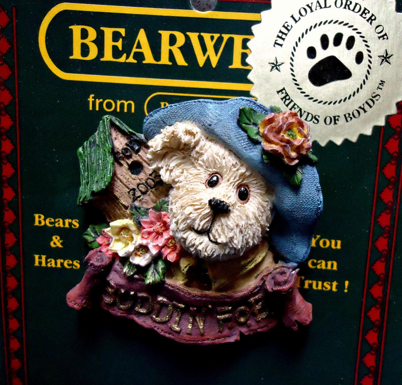 """Boyds BearWear""""Aunt Birdie"""" 2003 FoB's BearWear Resin Pin- #02003-11-New-Retired"""