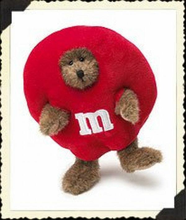 "Boyds Bears ""R.M. Peeker"" "" 7"" Red M&M Plush Bear Peeker #919003- New-  Retired"