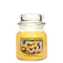 Village Candle Fresh Lemon Medium Glass Apothecary Jar Scented Candle 13... - $32.35