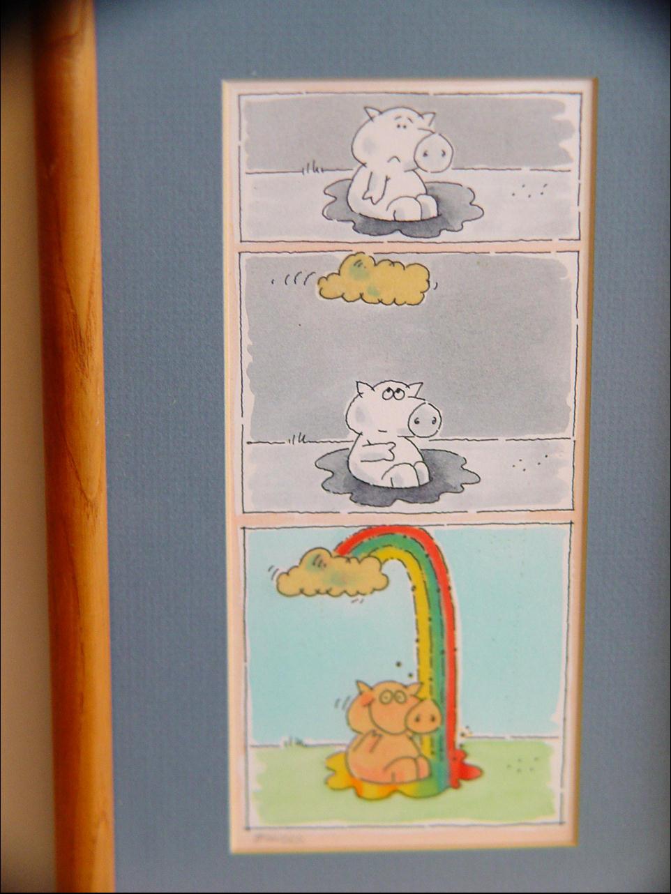 Framed Cartoon Panel Pig Creates a Rainbow Amid a Cloudy Day