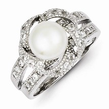 STERLING SILVER POLISHED SIMULATED PEARL AND CZ RING - SIZE 7 - £30.21 GBP