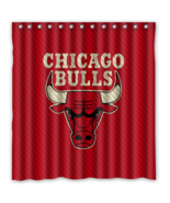 Chicago Bulls 01 Shower Curtain Waterproof Polyester Fabric For Bathroom  - $33.30+