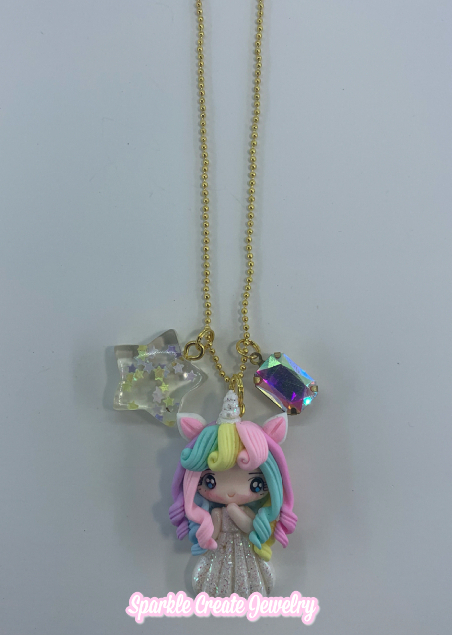 Unicorn Girl Clay Charm Necklace