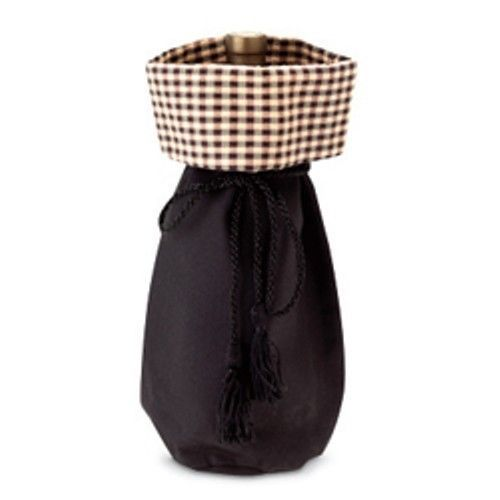 Longaberger Gift Bag Black / Khaki Check Quality Wine Bottle Beverage Tote New image 1
