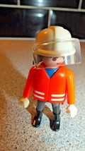 Playmobil 1992 Rescue Figure Red and White Hi-Vis Coat White Helmet Visor - $2.69