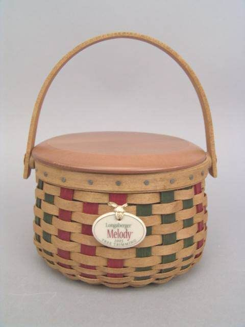 Longaberger 2003 Melody Tree Trimming Basket Ivy Green Fabric Liner New In Bag