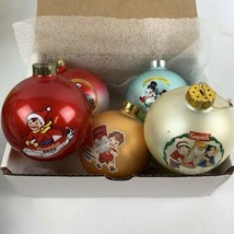 """Set Of 5 Campbell's Soup Kids 3"""" Glass Ball Christmas Ornaments - $9.90"""