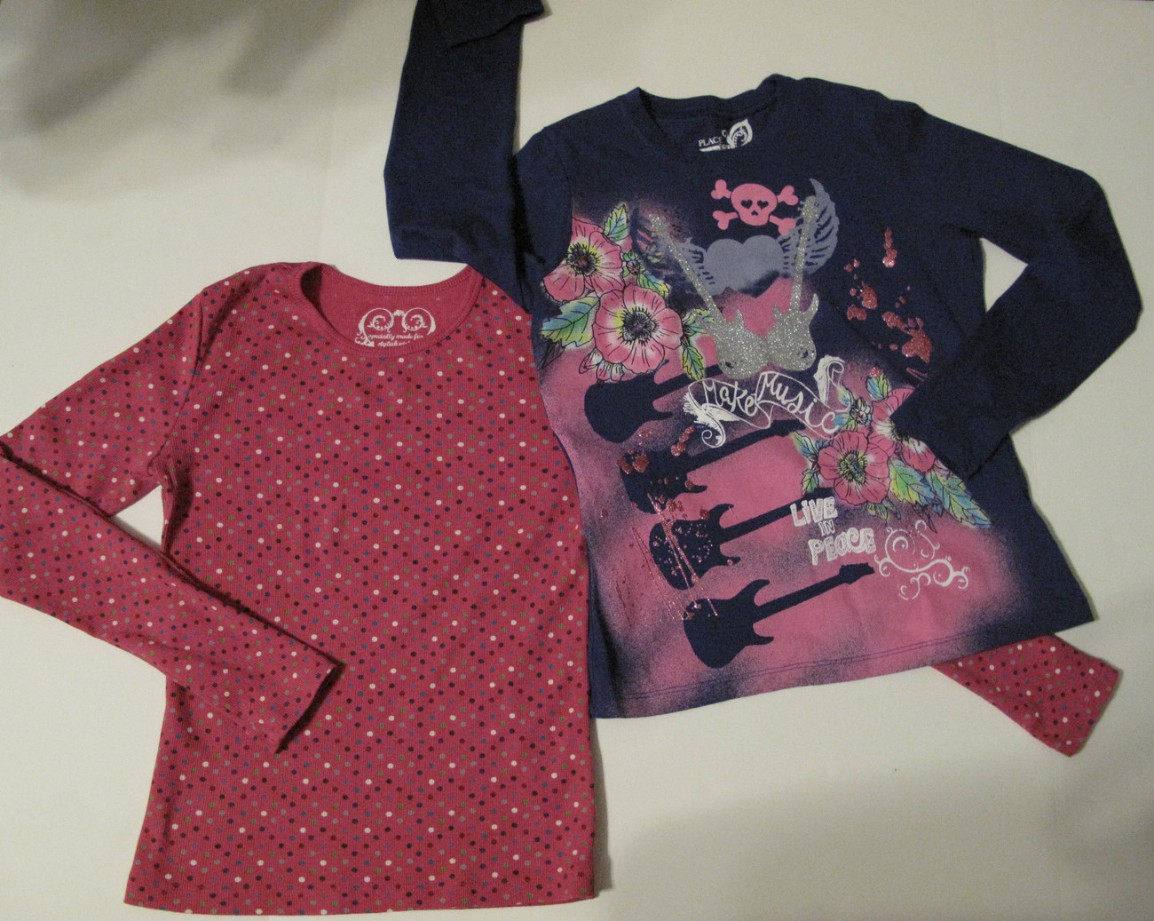 Primary image for Set of 2 Long Sleeve T-shirts, Fushia with Multi-colored Dots & Dark Blue, L
