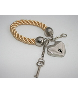 Key and lock bracelet gold satin cord adjustabl... - $34.95