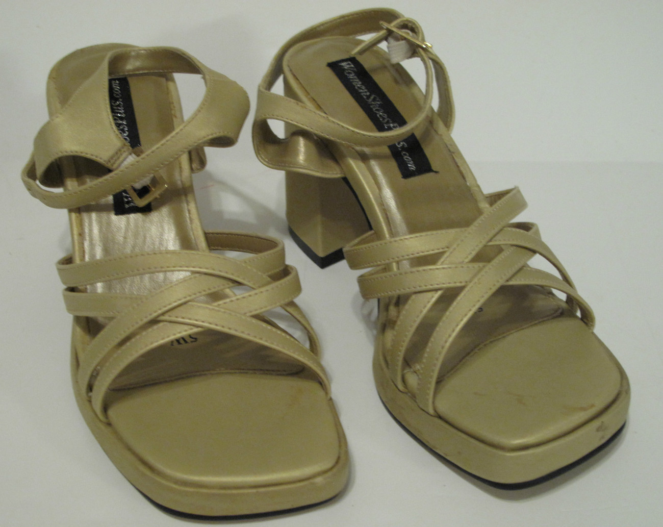 Primary image for Women's Gold Strappy Sandal Wide Size 5W
