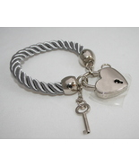 Key and lock bracelet silver satin cord adjusta... - $34.95