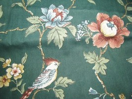Flowers Birds Jade Upholstrey Drapery Fabric 3 yd - $15.95