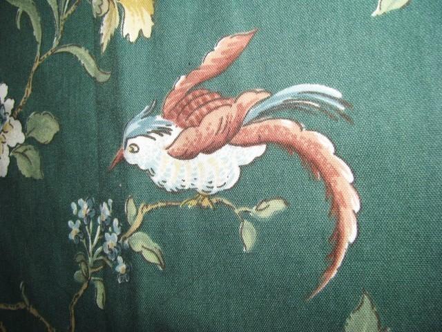 Flowers Birds Jade Upholstrey Drapery Fabric 3 yd