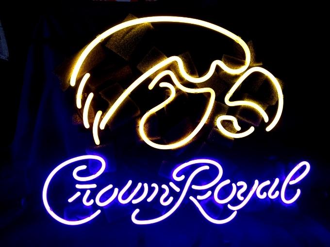 NCAA Iowa Hawkeyes Crown Royal Beer Bar Neon Light Sign 18