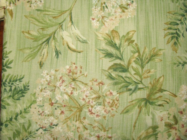TPSA International Mint Fern Flower Cotton Deco Fabric