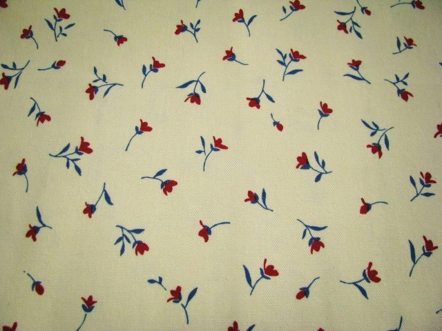 Hatema Pamy Red Flowers Blue Deco Cotton Fabric  3 yd